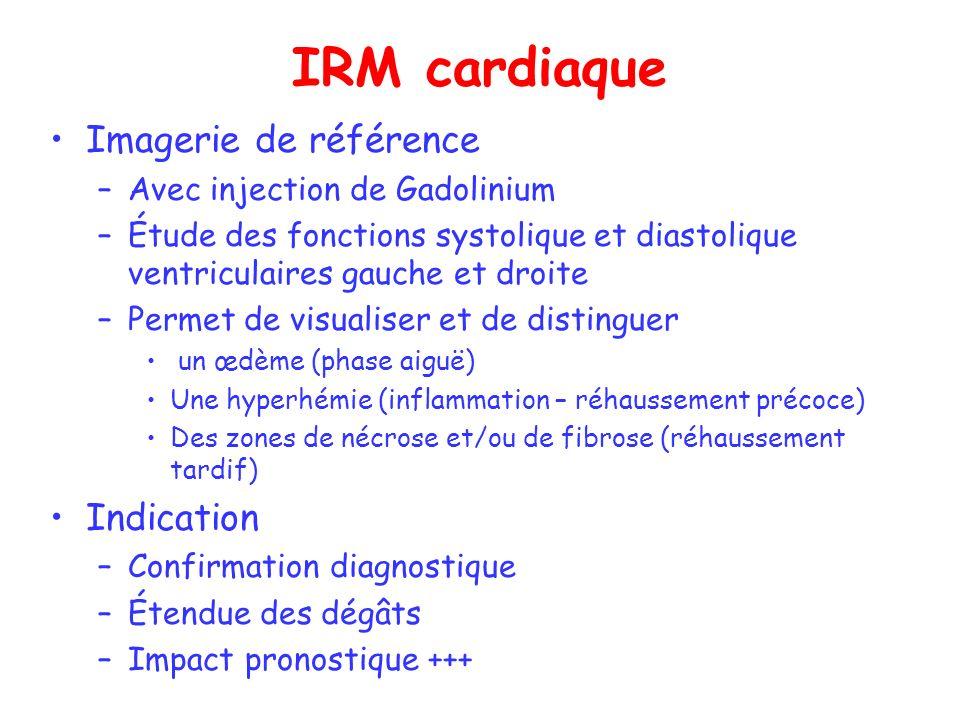 IRM cardiaque Imagerie de référence –Avec injection de Gadolinium –Étude des fonctions systolique et diastolique ventriculaires gauche et droite –Perm