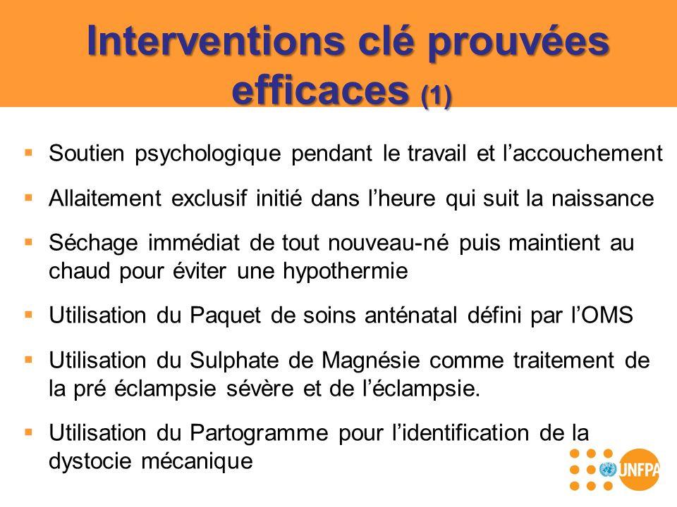 Interventions clé prouvées efficaces (1) Soutien psychologique pendant le travail et laccouchement Allaitement exclusif initié dans lheure qui suit la