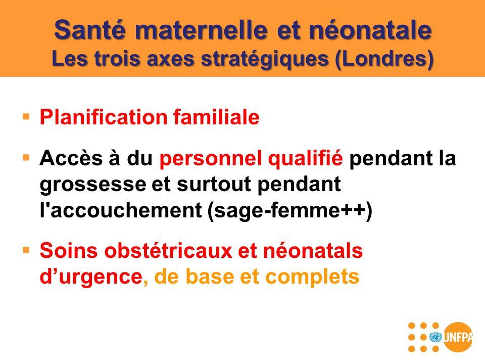Santé maternelle et néonatale Les trois axes stratégiques (Londres) Planification familiale Accès à du personnel qualifié pendant la grossesse et surt