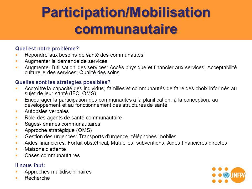 Participation/Mobilisation communautaire Quel est notre problème? Répondre aux besoins de santé des communautés Augmenter la demande de services Augme
