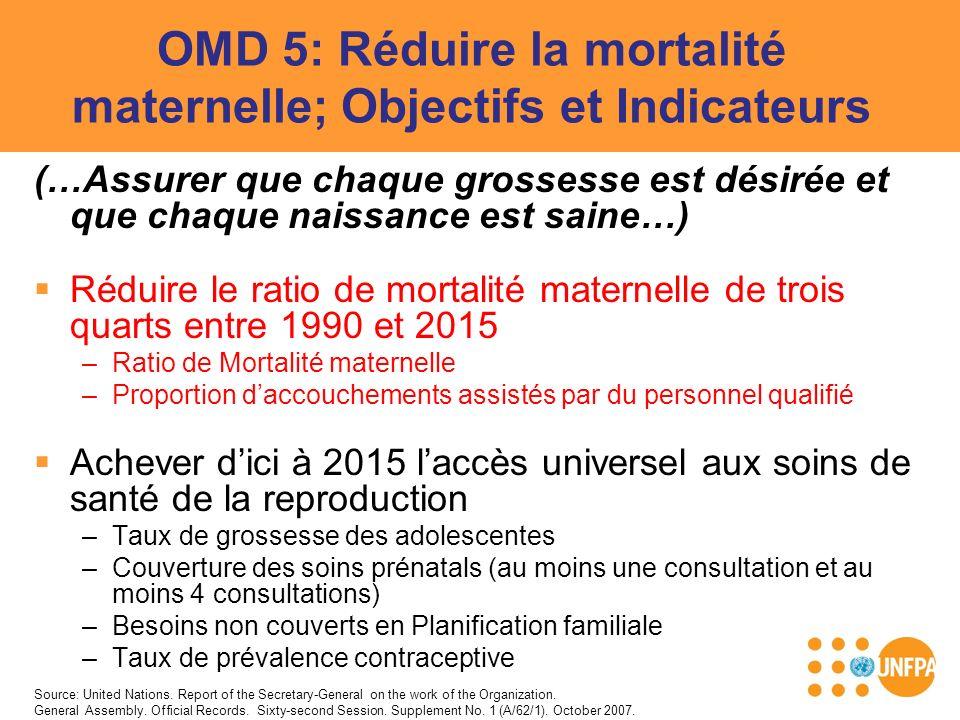 OMD 5: Réduire la mortalité maternelle; Objectifs et Indicateurs (…Assurer que chaque grossesse est désirée et que chaque naissance est saine…) Réduir