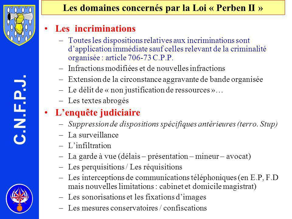 Les domaines concernés par la Loi « Perben II » Les incriminations –Toutes les dispositions relatives aux incriminations sont dapplication immédiate sauf celles relevant de la criminalité organisée : article 706-73 C.P.P.