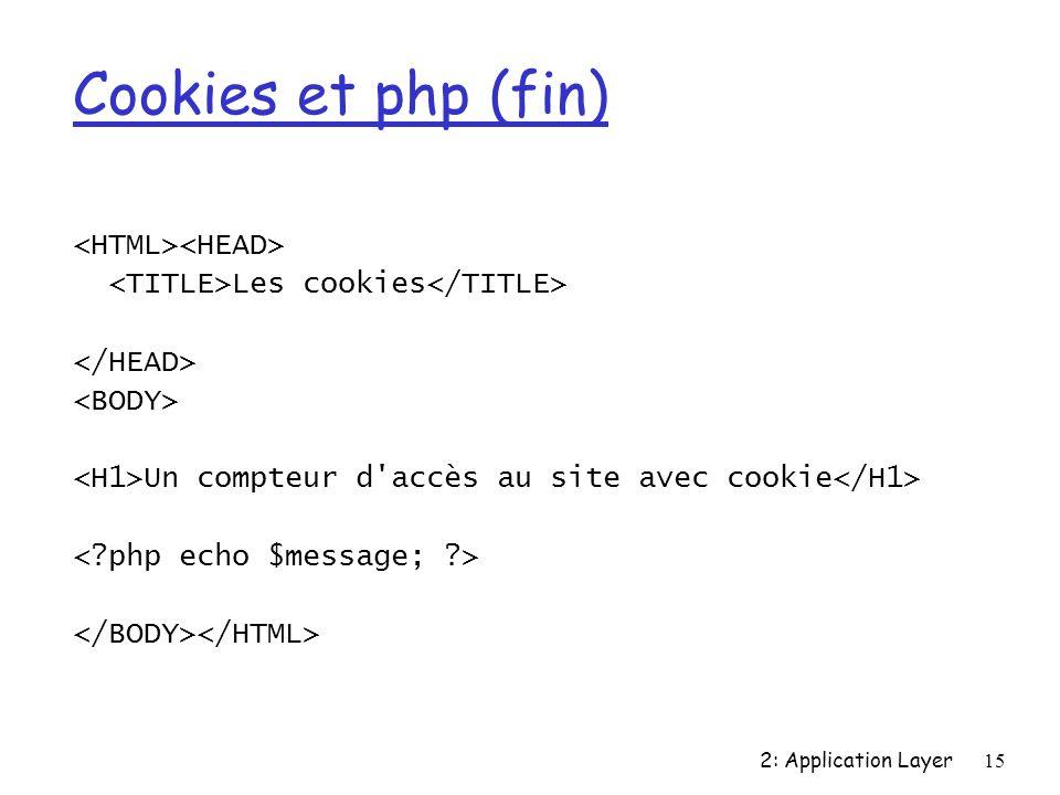 2: Application Layer15 Cookies et php (fin) Les cookies Un compteur d accès au site avec cookie