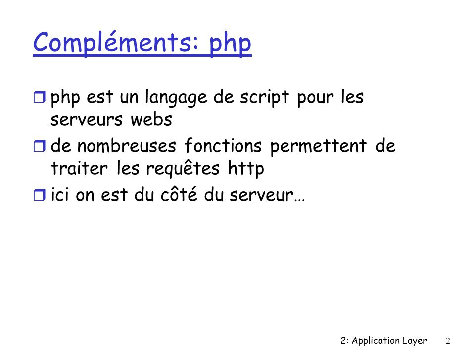 2: Application Layer3 Exemple simplesimple Exemple très simple Exemple le <?php echo Client : .