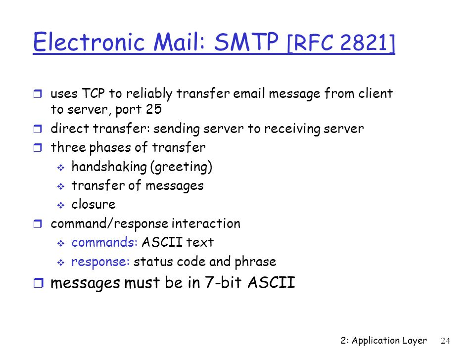 2: Application Layer24 Electronic Mail: SMTP [RFC 2821] r uses TCP to reliably transfer email message from client to server, port 25 r direct transfer