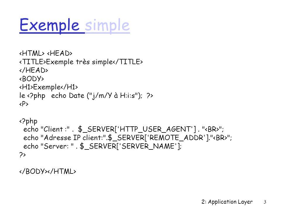 2: Application Layer64 Filtres de Bloom r Principe: un ensemble E de n éléments une fonction de hachage de E sur {1,m} un vecteur de m bits (le filtre) tester si x appartient à E si le bit h(x)=0 non si le bit h(x)=1 oui (mais peut être faux-positif) on peut diminuer les faux positifs en utilisant plusieurs fonctions de hachage r Si le client possède le document les bits des mot- clés correspondant sont à 1 r Les clients s échangent les filtres r Les requêtes ne sont propagées que vers les clients qui ont le bon filtre