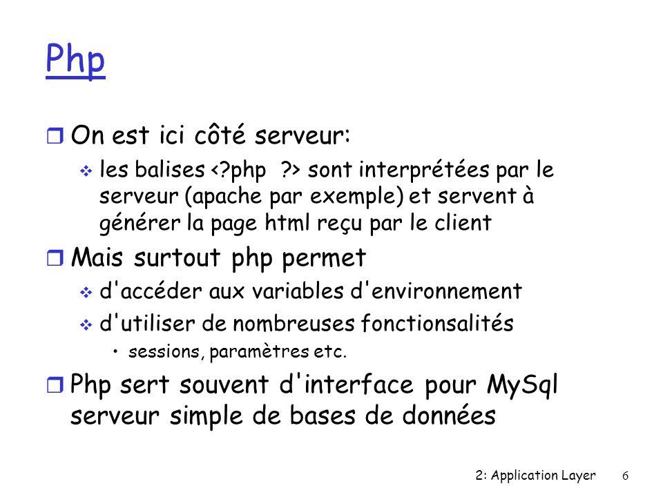 2: Application Layer6 Php r On est ici côté serveur: les balises sont interprétées par le serveur (apache par exemple) et servent à générer la page html reçu par le client r Mais surtout php permet d accéder aux variables d environnement d utiliser de nombreuses fonctionsalités sessions, paramètres etc.