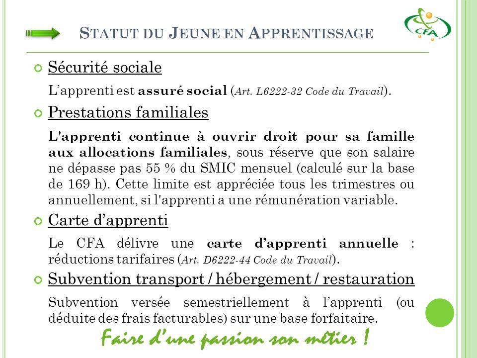 S TATUT DU J EUNE EN A PPRENTISSAGE Sécurité sociale Lapprenti est assuré social ( Art. L6222-32 Code du Travail ). L'apprenti continue à ouvrir droit