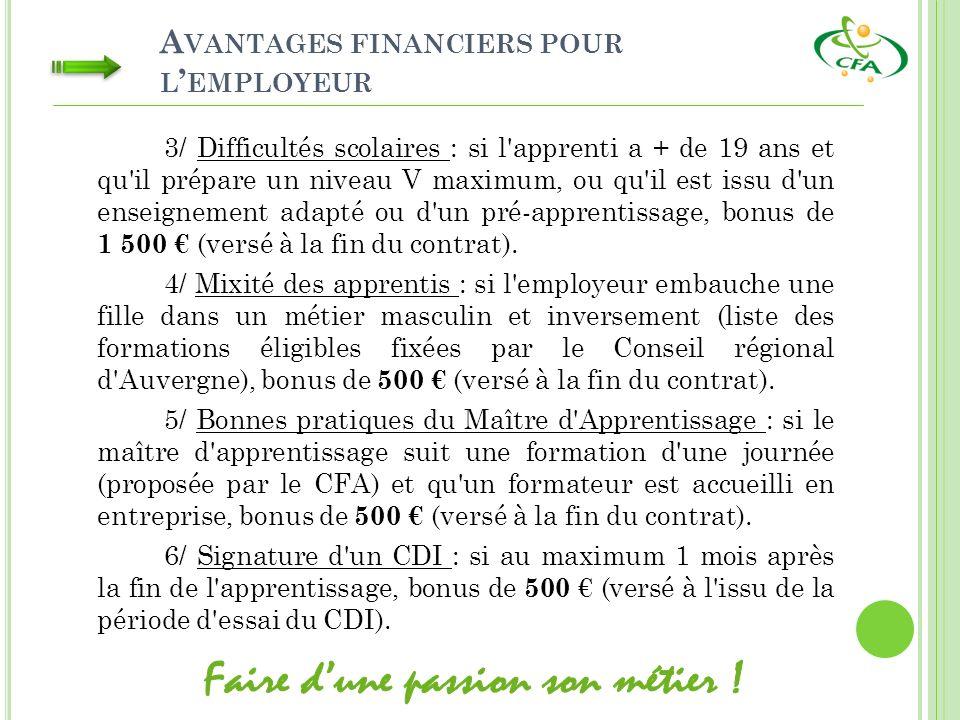 A VANTAGES FINANCIERS POUR L EMPLOYEUR 3/ Difficultés scolaires : si l'apprenti a + de 19 ans et qu'il prépare un niveau V maximum, ou qu'il est issu