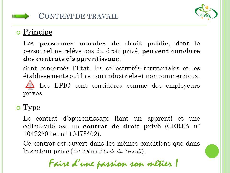 C ONTRAT DE TRAVAIL Type Le contrat dapprentissage liant un apprenti et une collectivité est un contrat de droit privé (CERFA n° 10472*01 et n° 10473*