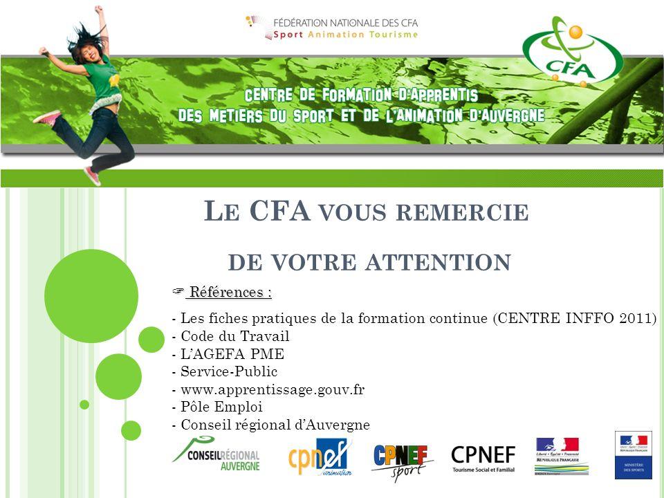 L E CFA VOUS REMERCIE DE VOTRE ATTENTION Références : Références : - Les fiches pratiques de la formation continue (CENTRE INFFO 2011) - Code du Trava