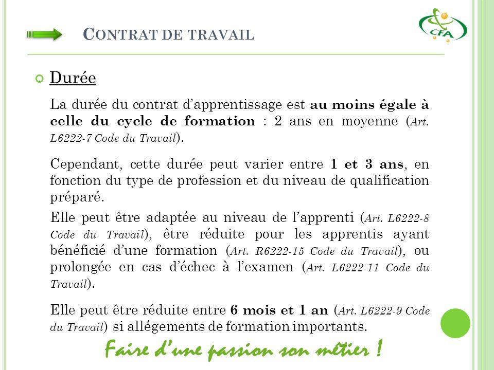 C ONTRAT DE TRAVAIL La durée du contrat dapprentissage est au moins égale à celle du cycle de formation : 2 ans en moyenne ( Art. L6222-7 Code du Trav