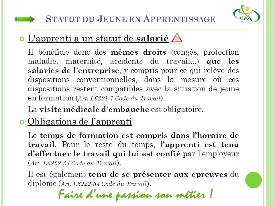 S TATUT DU J EUNE EN A PPRENTISSAGE L'apprenti a un statut de salarié Il bénéficie donc des mêmes droits (congés, protection maladie, maternité, accid