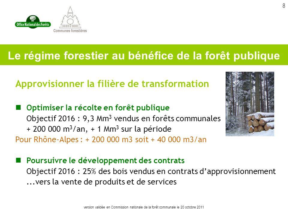 version validée en Commission nationale de la forêt communale le 20 octobre 2011 8 Approvisionner la filière de transformation Optimiser la récolte en forêt publique Objectif 2016 : 9,3 Mm 3 vendus en forêts communales + 200 000 m 3 /an, + 1 Mm 3 sur la période Pour Rhône-Alpes : + 200 000 m3 soit + 40 000 m3/an Poursuivre le développement des contrats Objectif 2016 : 25% des bois vendus en contrats dapprovisionnement...vers la vente de produits et de services Le régime forestier au bénéfice de la forêt publique