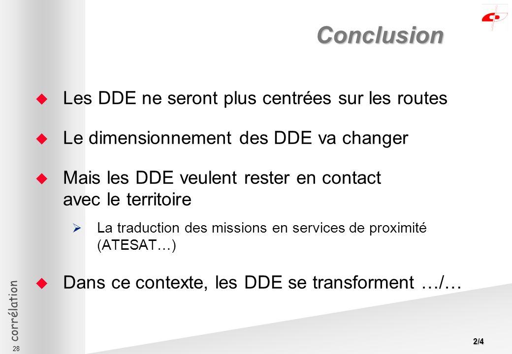 corrélation 28 Conclusion Les DDE ne seront plus centrées sur les routes Le dimensionnement des DDE va changer Mais les DDE veulent rester en contact avec le territoire La traduction des missions en services de proximité (ATESAT…) Dans ce contexte, les DDE se transforment …/… 2/4