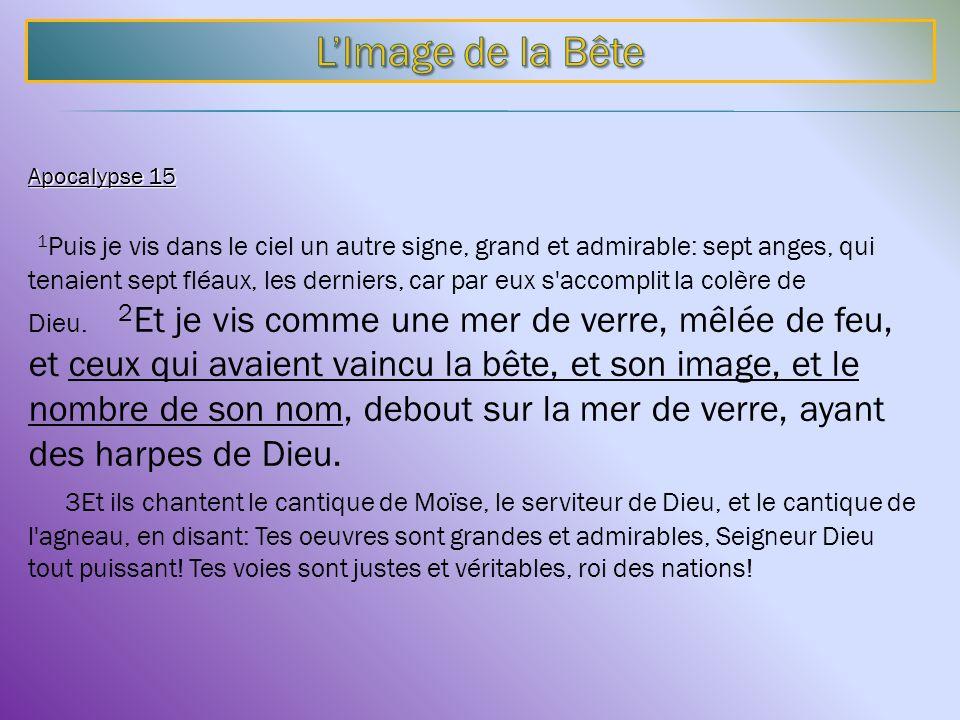 Apocalypse 15 1 Puis je vis dans le ciel un autre signe, grand et admirable: sept anges, qui tenaient sept fléaux, les derniers, car par eux s'accompl