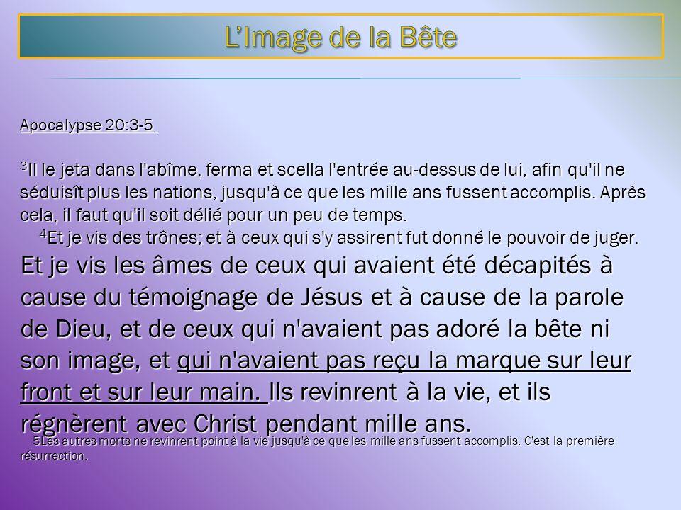 Apocalypse 20:3-5 Apocalypse 20:3-5 3 Il le jeta dans l'abîme, ferma et scella l'entrée au-dessus de lui, afin qu'il ne séduisît plus les nations, jus