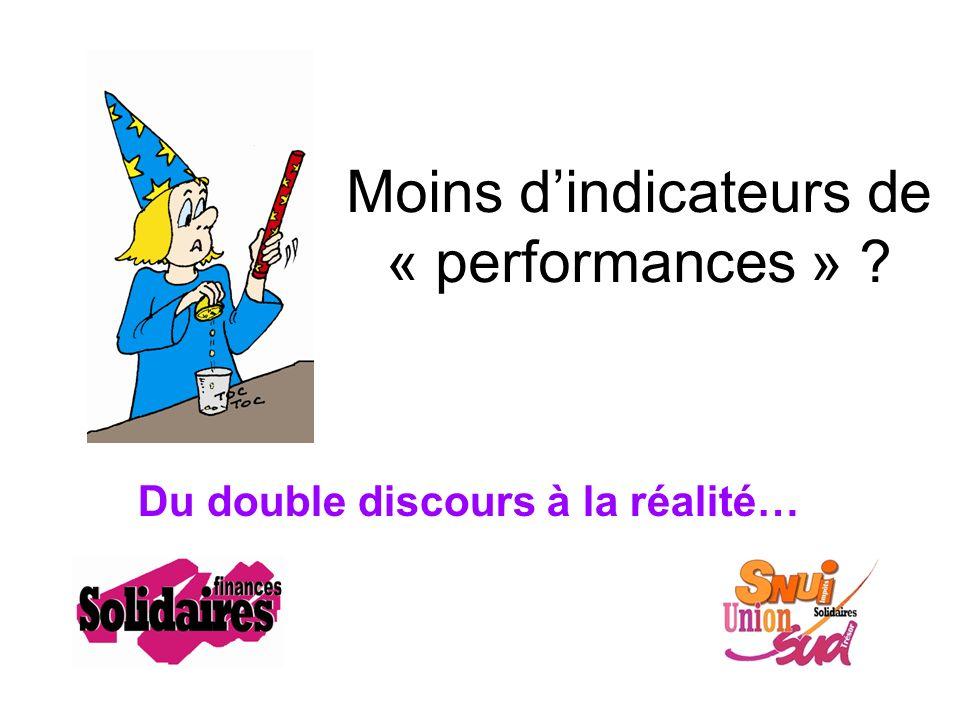Moins dindicateurs de « performances » Du double discours à la réalité…