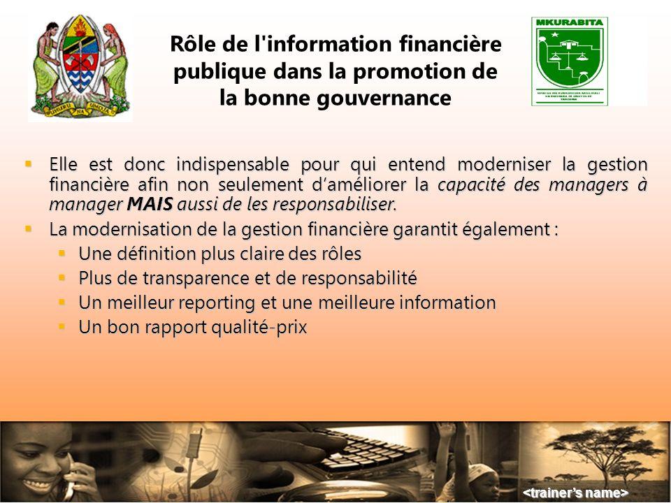 Une bonne information comptable et financière est lune des conditions sine qua non de la promotion dun processus de bonne gouvernance. Une bonne infor