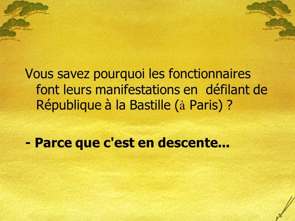 Vous savez pourquoi les fonctionnaires font leurs manifestations en défilant de République à la Bastille ( à Paris) .
