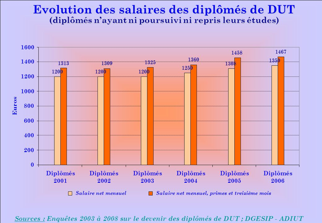 www.iut-fr.net 0 200 400 600 800 1000 1200 1400 1600 Diplômés 2001 Diplômés 2002 Diplômés 2003 Diplômés 2004 Diplômés 2005 Diplômés 2006 Euros Salaire