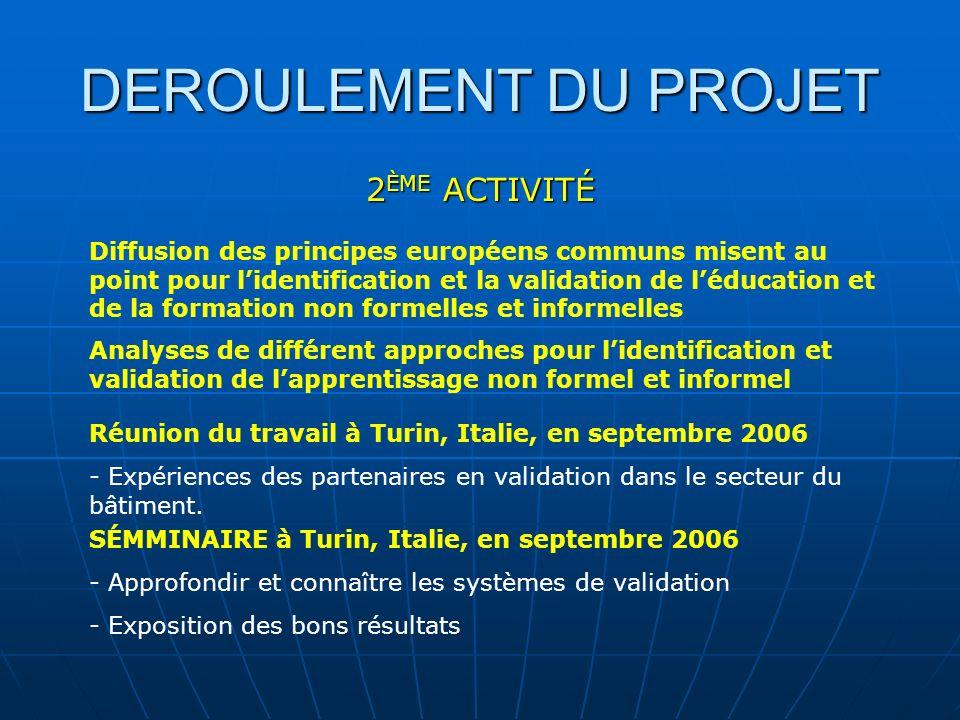 DEROULEMENT DU PROJET 2 ÈME ACTIVITÉ Diffusion des principes européens communs misent au point pour lidentification et la validation de léducation et