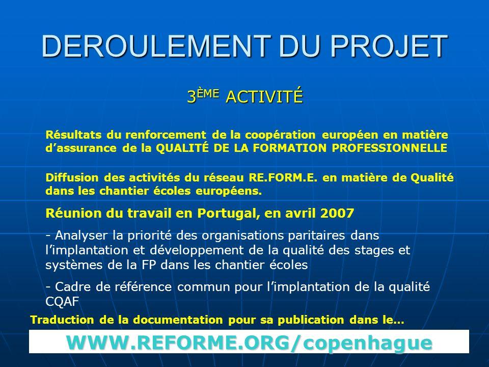 DEROULEMENT DU PROJET 3 ÈME ACTIVITÉ Résultats du renforcement de la coopération européen en matière dassurance de la QUALITÉ DE LA FORMATION PROFESSIONNELLE Diffusion des activités du réseau RE.FORM.E.