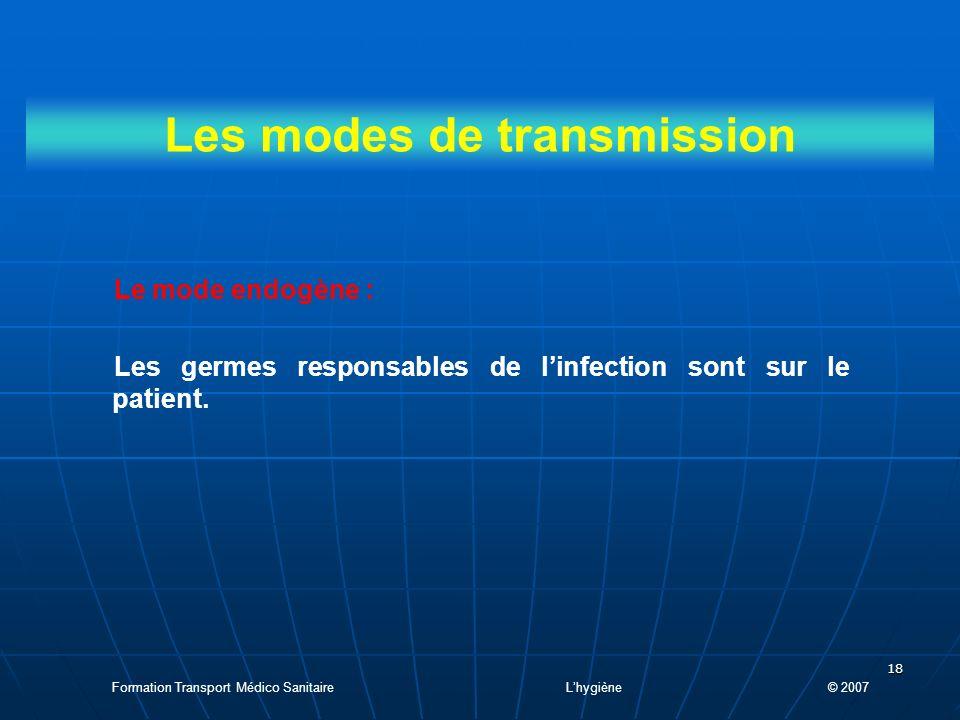 18 Les modes de transmission Le mode endogène : Les germes responsables de linfection sont sur le patient.