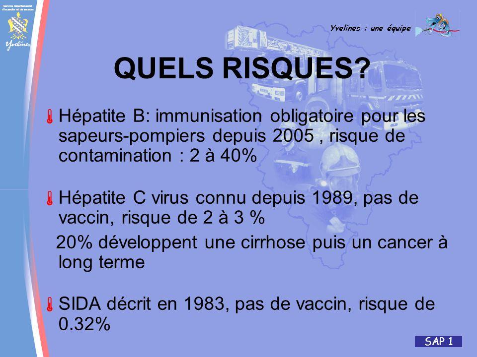 Service départemental d'incendie et de secours Yvelines : une équipe SAP 1 QUELS RISQUES? Hépatite B: immunisation obligatoire pour les sapeurs-pompie