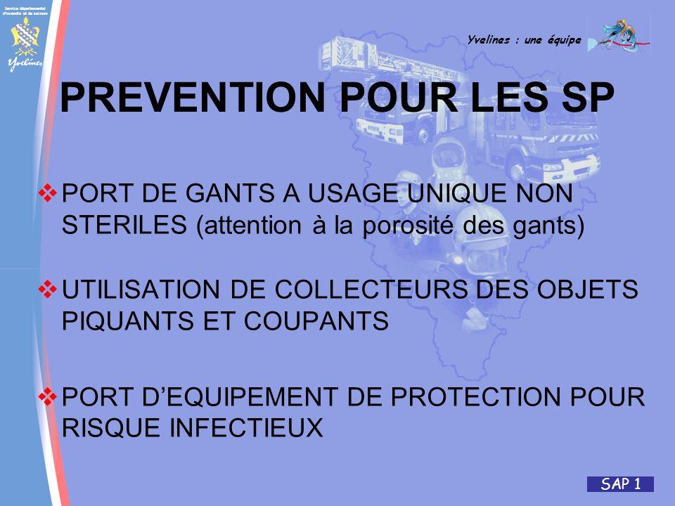 Service départemental d'incendie et de secours Yvelines : une équipe SAP 1 PREVENTION POUR LES SP PORT DE GANTS A USAGE UNIQUE NON STERILES (attention