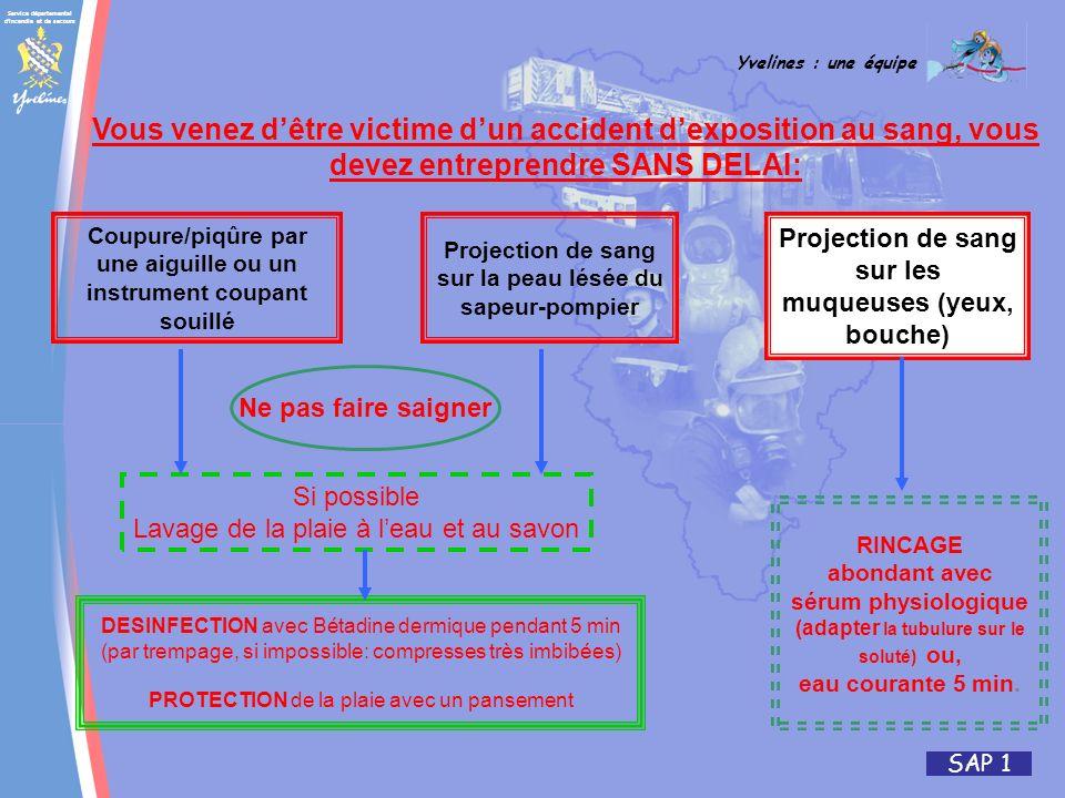 Service départemental d'incendie et de secours Yvelines : une équipe SAP 1 Vous venez dêtre victime dun accident dexposition au sang, vous devez entre