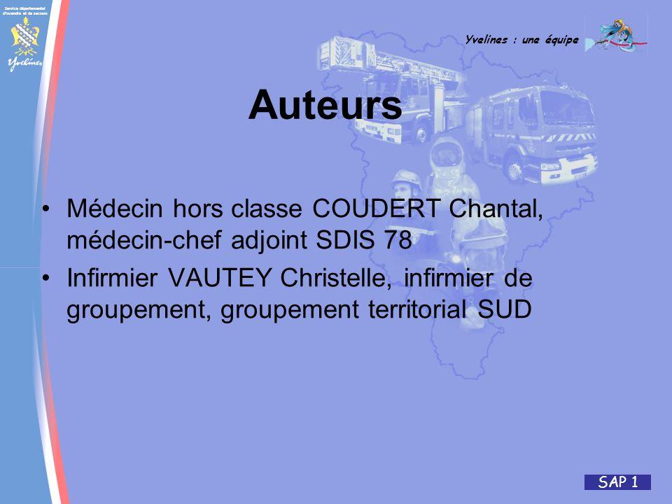 Service départemental d'incendie et de secours Yvelines : une équipe SAP 1 Auteurs Médecin hors classe COUDERT Chantal, médecin-chef adjoint SDIS 78 I