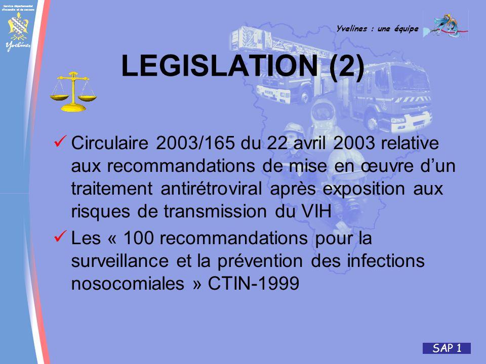 Service départemental d'incendie et de secours Yvelines : une équipe SAP 1 LEGISLATION (2) Circulaire 2003/165 du 22 avril 2003 relative aux recommand
