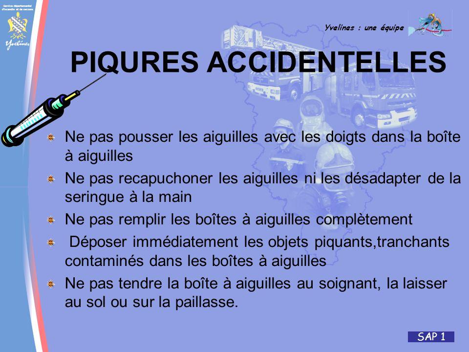 Service départemental d'incendie et de secours Yvelines : une équipe SAP 1 PIQURES ACCIDENTELLES Ne pas pousser les aiguilles avec les doigts dans la