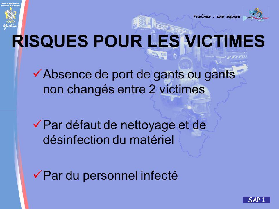 Service départemental d'incendie et de secours Yvelines : une équipe SAP 1 RISQUES POUR LES VICTIMES Absence de port de gants ou gants non changés ent