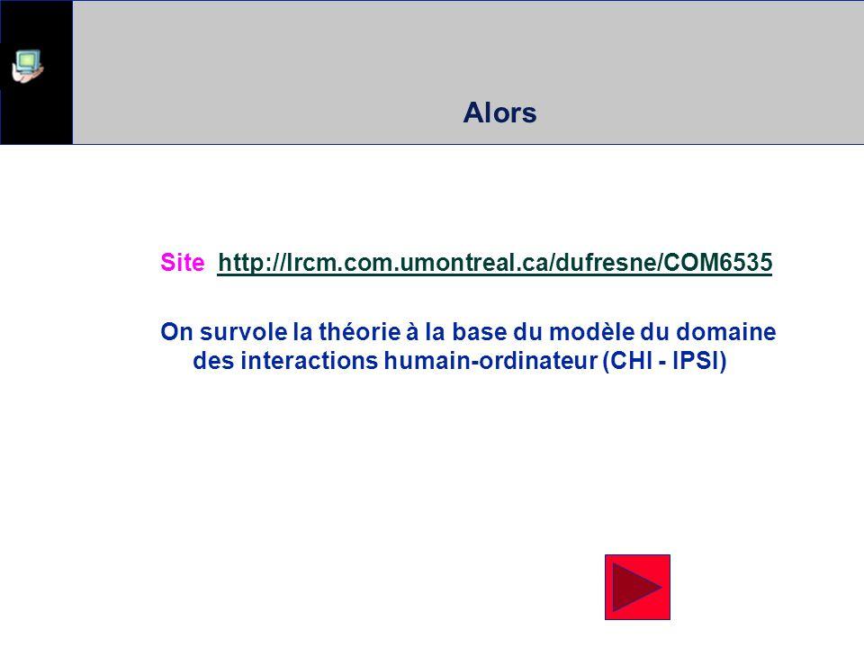 Alors Site http://lrcm.com.umontreal.ca/dufresne/COM6535http://lrcm.com.umontreal.ca/dufresne/COM6535 On survole la théorie à la base du modèle du domaine des interactions humain-ordinateur (CHI - IPSI)