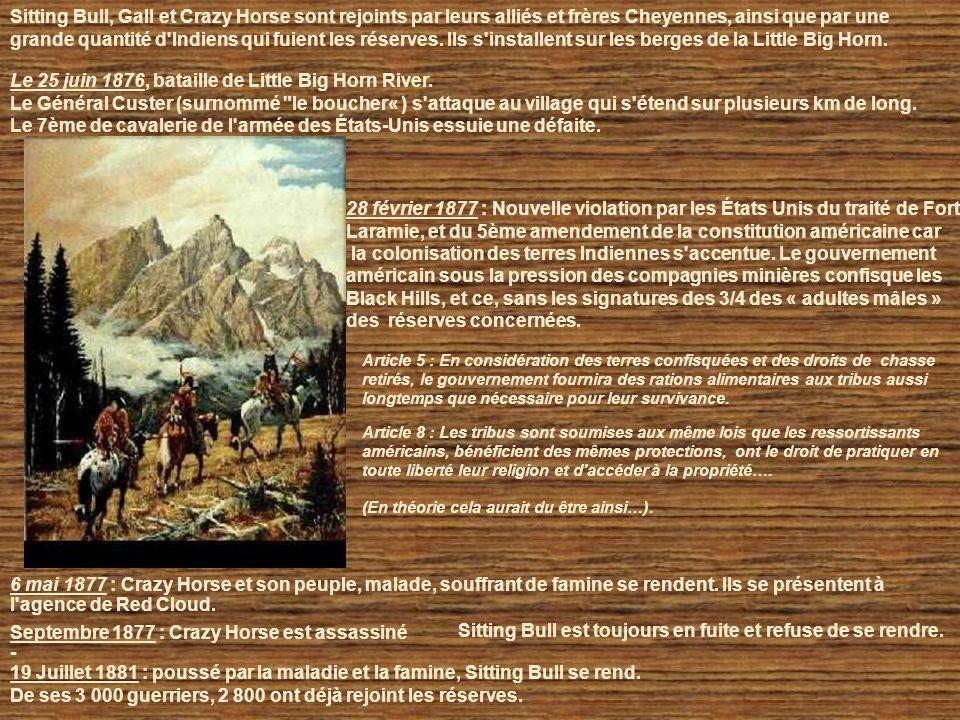 28 février 1877 : Nouvelle violation par les États Unis du traité de Fort Laramie, et du 5ème amendement de la constitution américaine car la colonisation des terres Indiennes s accentue.