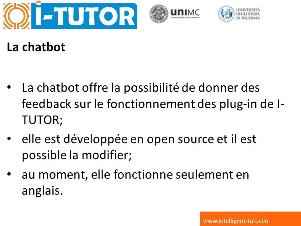 La chatbot La chatbot offre la possibilité de donner des feedback sur le fonctionnement des plug-in de I- TUTOR; elle est développée en open source et il est possible la modifier; au moment, elle fonctionne seulement en anglais.