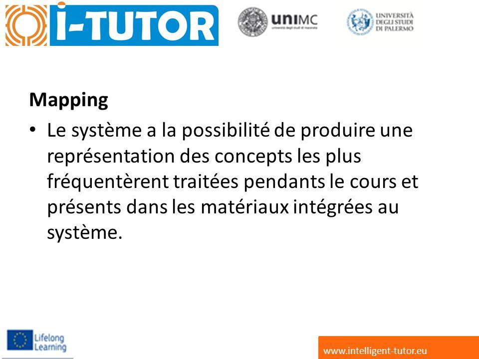Mapping Le système a la possibilité de produire une représentation des concepts les plus fréquentèrent traitées pendants le cours et présents dans les matériaux intégrées au système.