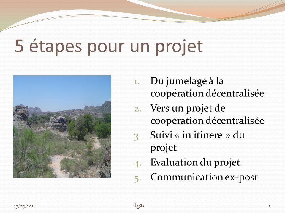 5 étapes pour un projet 1. Du jumelage à la coopération décentralisée 2. Vers un projet de coopération décentralisée 3. Suivi « in itinere » du projet