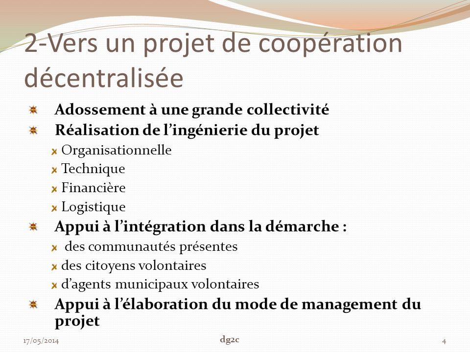 2-Vers un projet de coopération décentralisée Adossement à une grande collectivité Réalisation de lingénierie du projet Organisationnelle Technique Fi