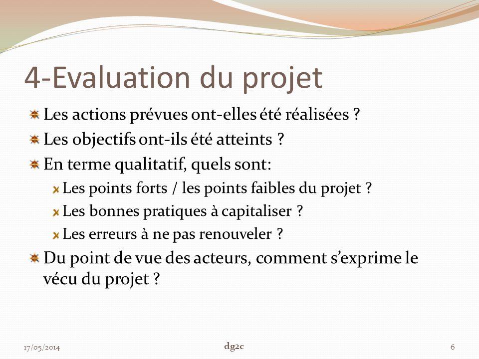 4-Evaluation du projet Les actions prévues ont-elles été réalisées ? Les objectifs ont-ils été atteints ? En terme qualitatif, quels sont: Les points