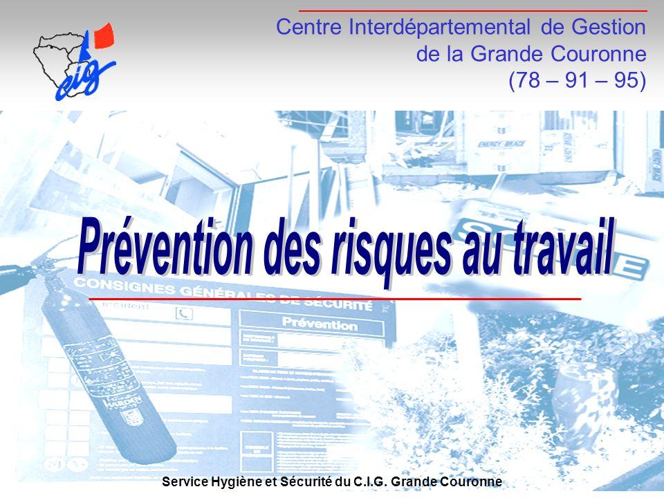 Centre Interdépartemental de Gestion de la Grande Couronne (78 – 91 – 95) Service Hygiène et Sécurité du C.I.G. Grande Couronne
