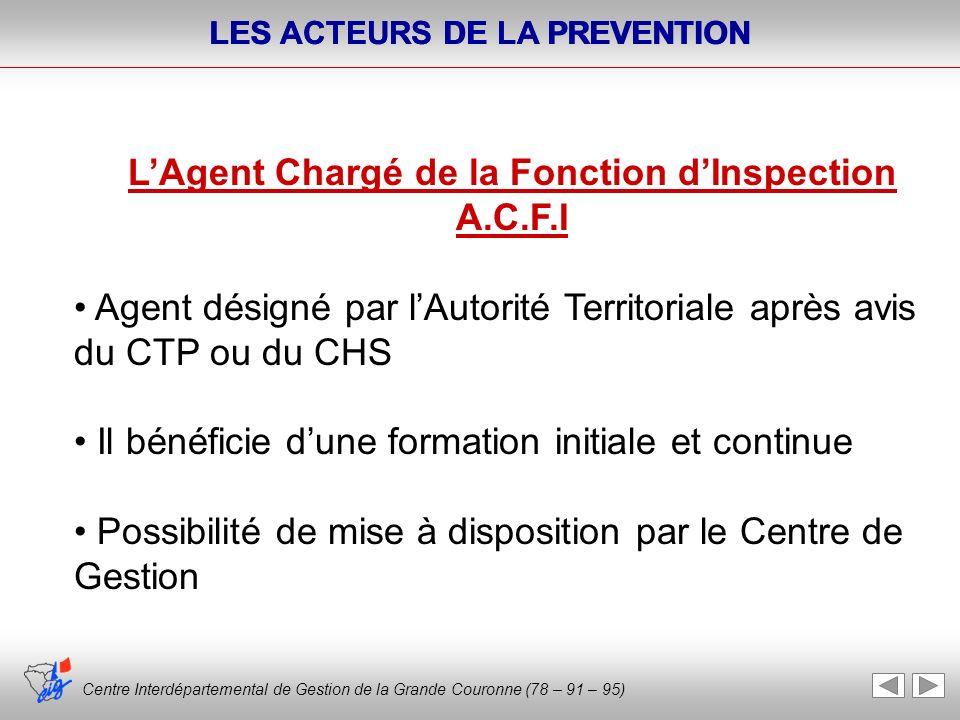 Centre Interdépartemental de Gestion de la Grande Couronne (78 – 91 – 95) LES ACTEURS DE LA PREVENTION Centre Interdépartemental de Gestion de la Gran
