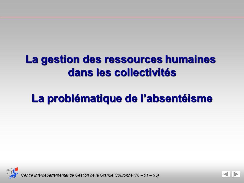 Centre Interdépartemental de Gestion de la Grande Couronne (78 – 91 – 95) La gestion des ressources humaines dans les collectivités La problématique d