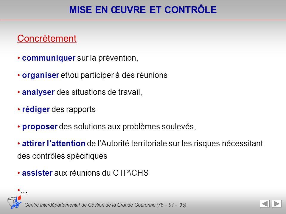 Centre Interdépartemental de Gestion de la Grande Couronne (78 – 91 – 95) MISE EN ŒUVRE ET CONTRÔLE Concrètement communiquer sur la prévention, organi