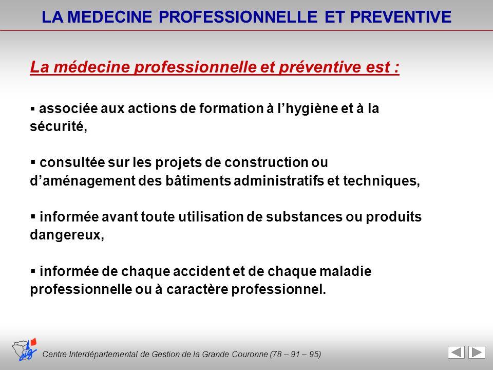 Centre Interdépartemental de Gestion de la Grande Couronne (78 – 91 – 95) LA MEDECINE PROFESSIONNELLE ET PREVENTIVE La médecine professionnelle et pré