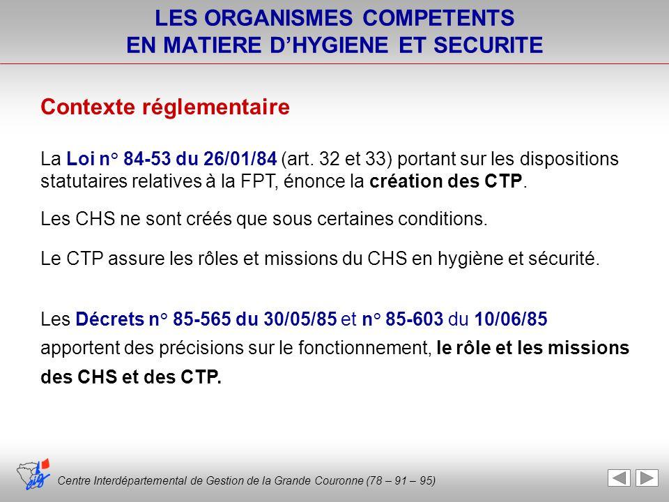 Centre Interdépartemental de Gestion de la Grande Couronne (78 – 91 – 95) LES ORGANISMES COMPETENTS EN MATIERE DHYGIENE ET SECURITE Centre Interdépart