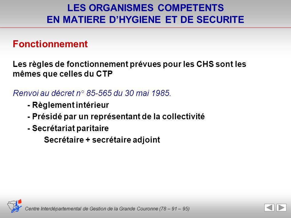 LES ORGANISMES COMPETENTS EN MATIERE DHYGIENE ET DE SECURITE Fonctionnement Les règles de fonctionnement prévues pour les CHS sont les mêmes que celle