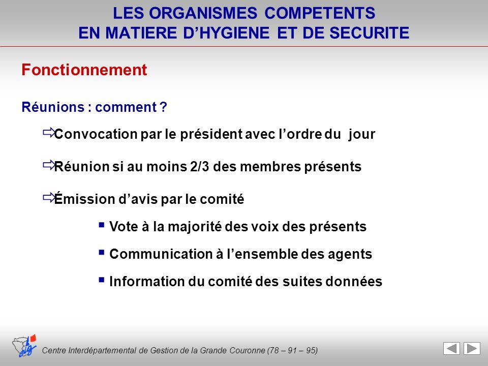 Centre Interdépartemental de Gestion de la Grande Couronne (78 – 91 – 95) LES ORGANISMES COMPETENTS EN MATIERE DHYGIENE ET DE SECURITE Convocation par